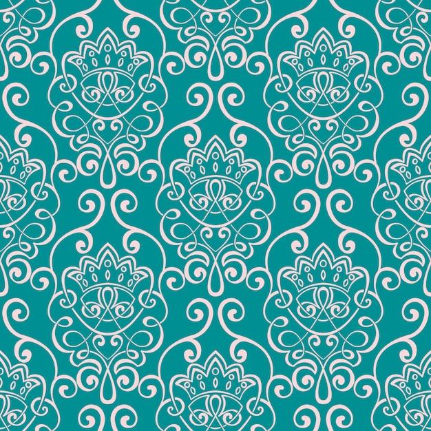 Fondo senza cuciture damascato. ornamento damascato vecchio stile di lusso classico Vettore gratuito