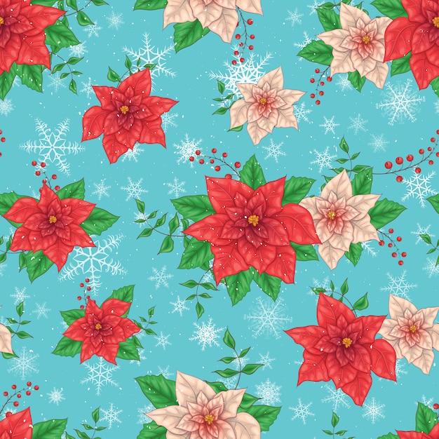 Fondo senza cuciture dei fiori della stella di natale di inverno di natale Vettore Premium
