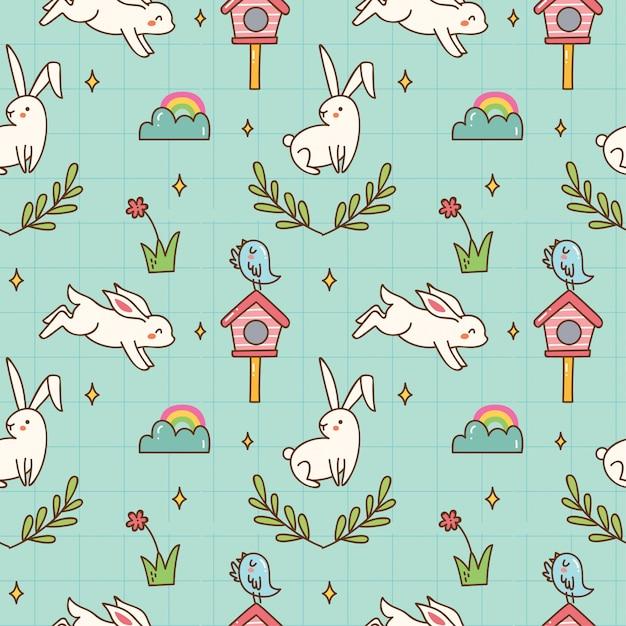 Fondo senza cuciture del coniglietto di kawaii Vettore Premium