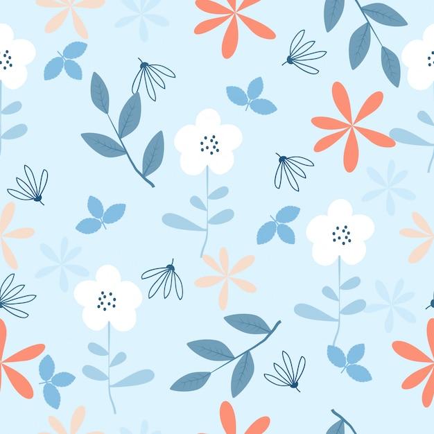 Fondo senza cuciture del modello dei fiori disegnati a mano d'annata svegli Vettore Premium