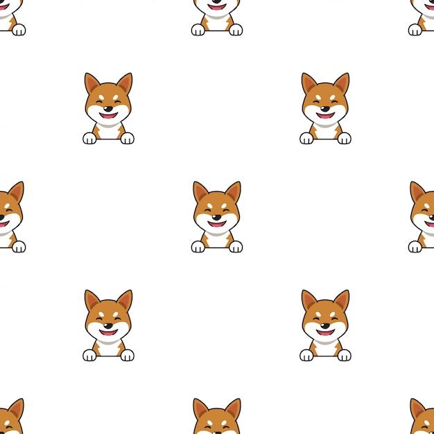 Fondo senza cuciture del modello del cane di inu di shiba del personaggio dei cartoni animati Vettore Premium