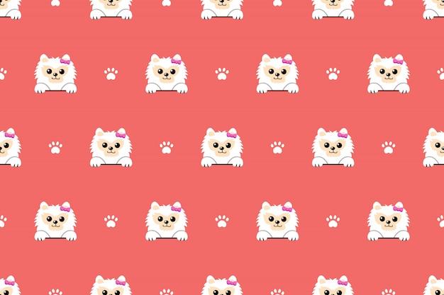 Fondo senza cuciture del modello del cane pomeranian bianco del carattere Vettore Premium