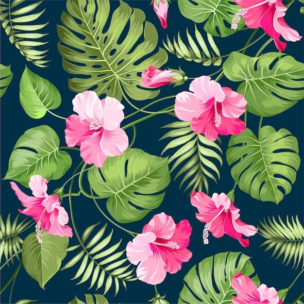 Fondo senza cuciture del modello delle foglie floreali dell'acquerello Vettore Premium