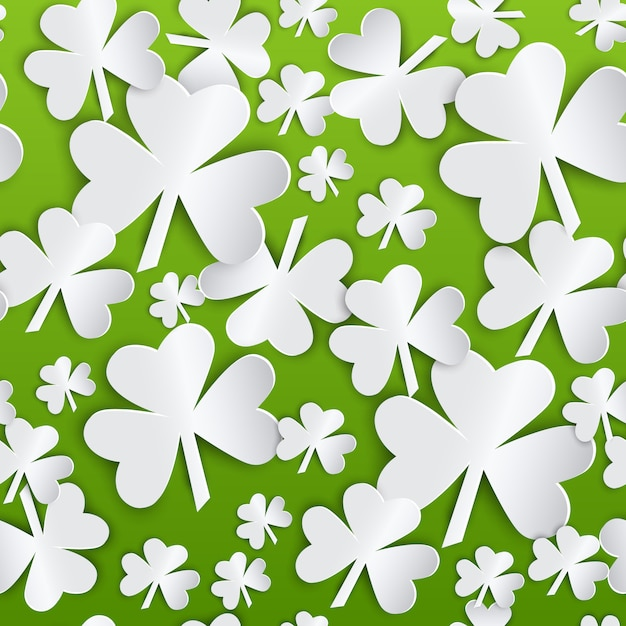 Fondo senza cuciture del modello di giorno di st patrick con le foglie bianche dell'acetosella su verde Vettore Premium
