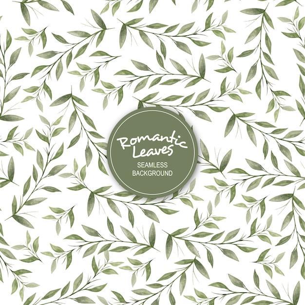 Fondo senza cuciture dell'acquerello delle foglie romantiche Vettore Premium