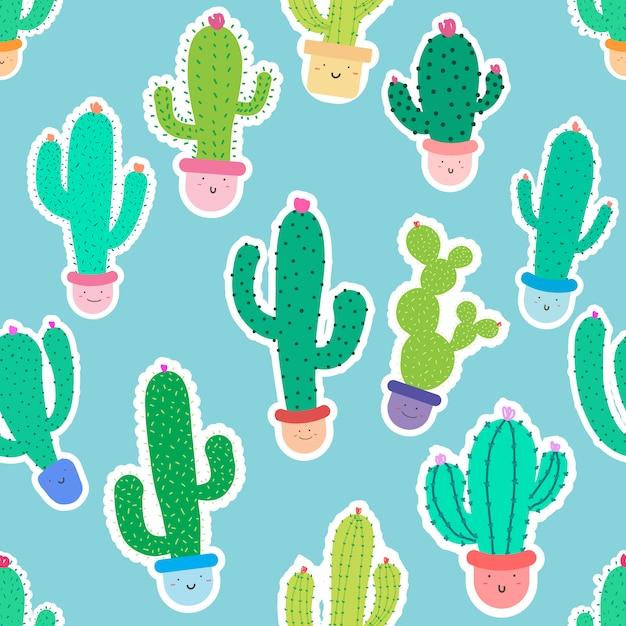 Fondo senza cuciture sveglio del modello del cactus Vettore Premium