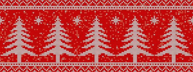Fondo senza cuciture tricottante rosso del modello con gli alberi di natale Vettore Premium