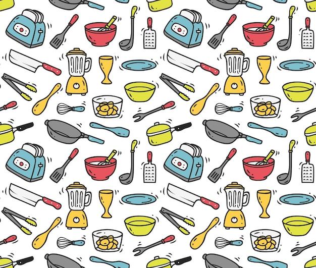 Fondo senza cuciture utensili da cucina Vettore Premium
