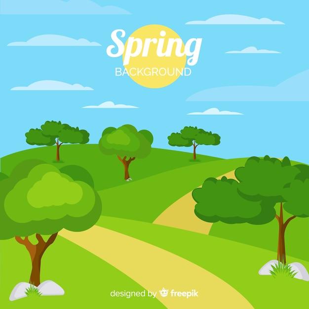 Fondo soleggiato della molla del paesaggio Vettore gratuito