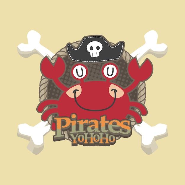 Fondo sveglio di vettore del fumetto dei pirati Vettore Premium
