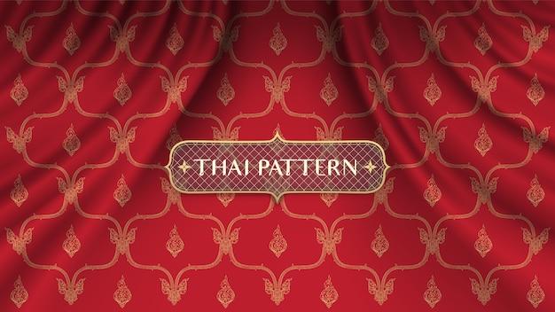 Fondo tailandese tradizionale sulla tenda rossa realistica della curva Vettore Premium