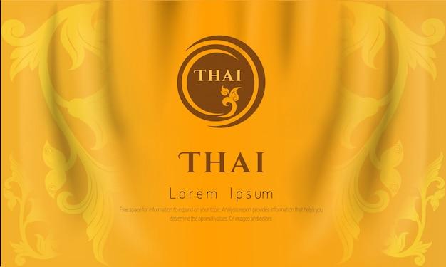 Fondo tradizionale tailandese, le arti del concetto della tailandia, colore giallo ,. Vettore Premium