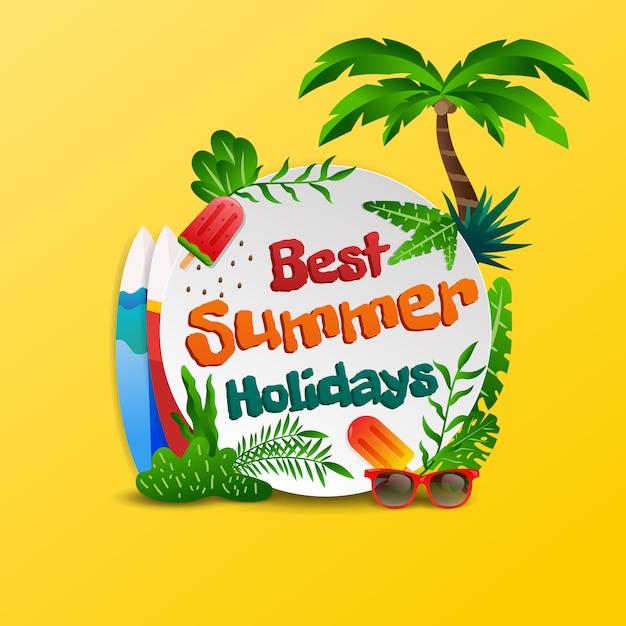 Fondo tropicale della spiaggia di vacanze estive Vettore Premium