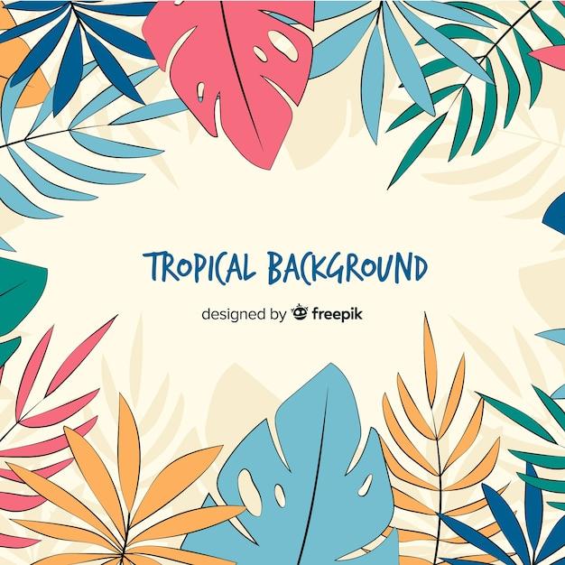 Fondo tropicale disegnato a mano delle foglie Vettore gratuito