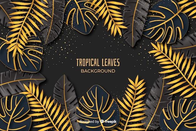 Fondo tropicale dorato delle foglie Vettore gratuito