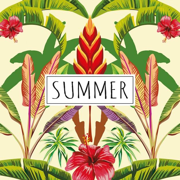 Fondo tropicale giallo delle foglie e dei fiori di estate di slogan Vettore Premium