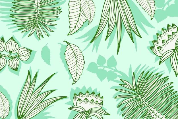 Fondo tropicale lineare pastello verde delle foglie Vettore gratuito
