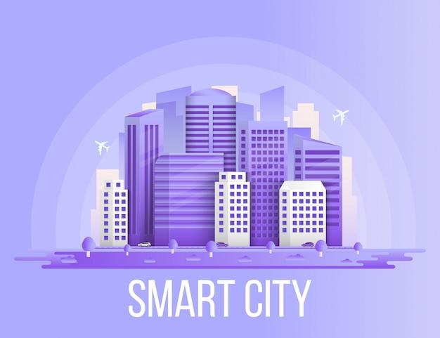 Fondo urbano delle costruzioni del paesaggio della città astuta. Vettore Premium