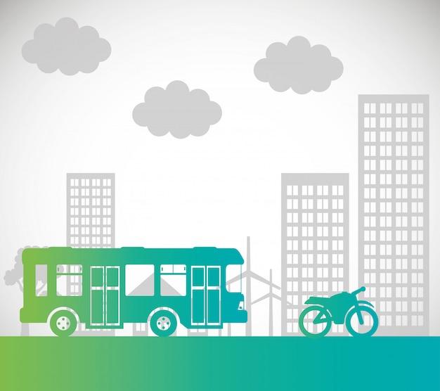 Fondo urbano di trasporto del motociclo del bus Vettore Premium