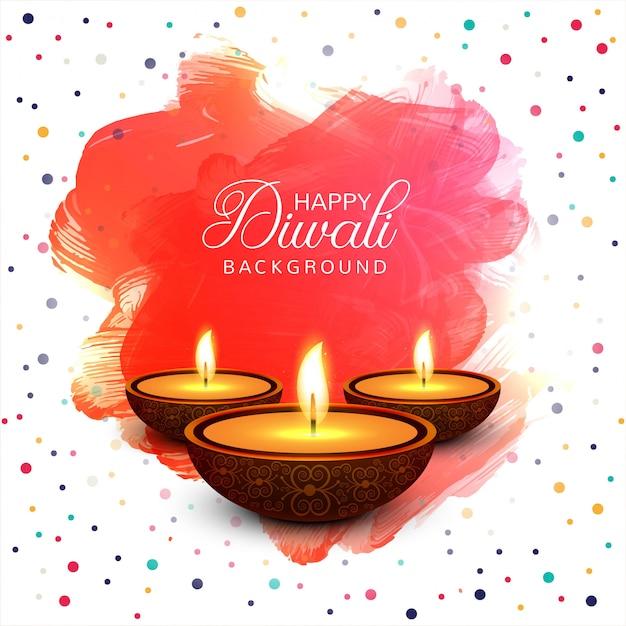 Fondo variopinto della carta di festival felice della lampada a olio di diya di diwali Vettore gratuito