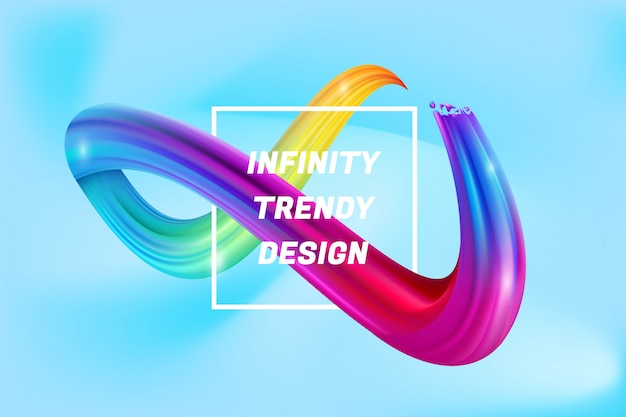 Fondo variopinto di forma di infinito, acqua liquida di infinità variopinta 3d Vettore Premium