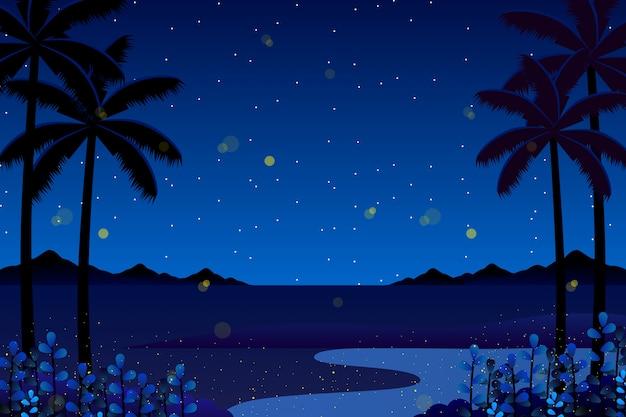 Fondo variopinto di notte del cielo blu di paesaggio Vettore Premium