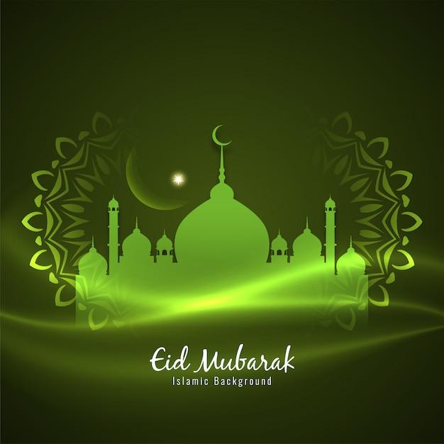 Fondo verde decorativo islamico di eid mubarak Vettore gratuito