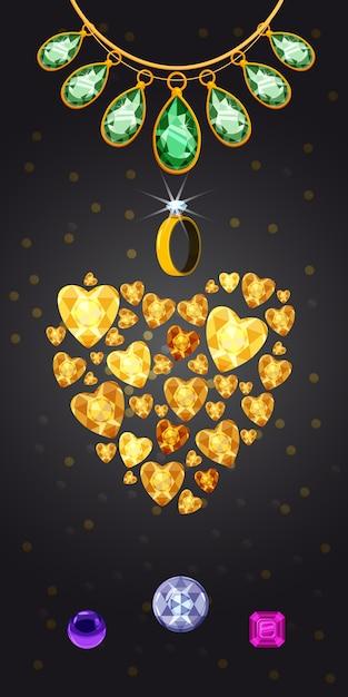 Fondo verticale del cuore dei gioielli Vettore Premium