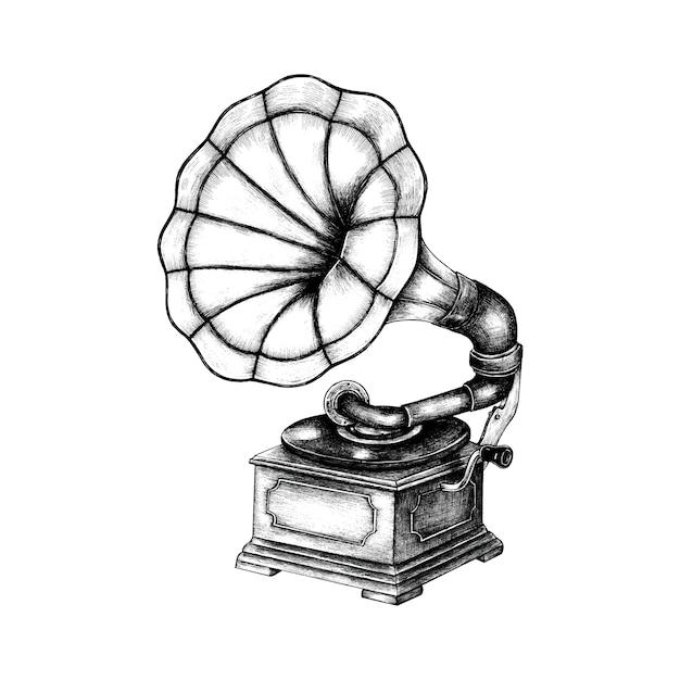 Fonografo classica disegnata a mano Vettore gratuito