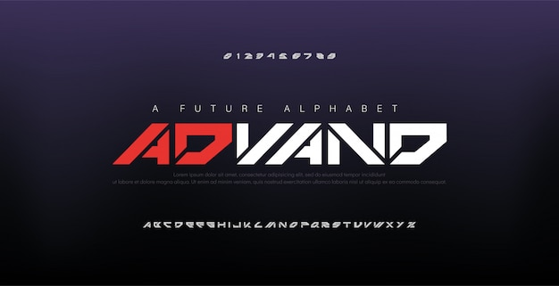 Font alfabeto digitale moderno astratto Vettore Premium