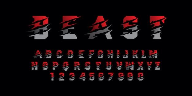 Font alfabeto moderno bestia Vettore Premium