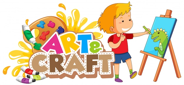 Font design per la parola arte e artigianato con ragazzo disegno su tela Vettore gratuito
