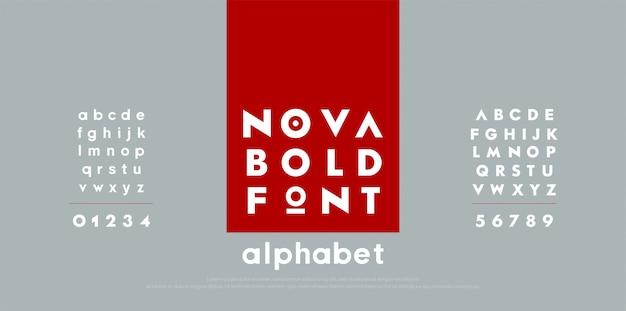 Font di alfabeto moderno moda astratta. Vettore Premium