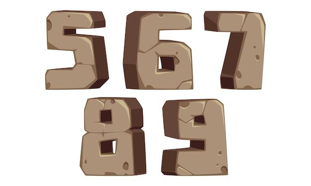 Font in stile pietra numeri 5, 6, 7, 8, 9 Vettore Premium