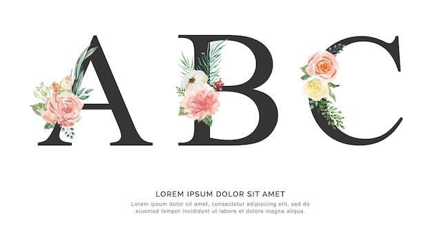Fonte del fiore di alfabeto abc fatta di vernice floreale e foglia acquerello su carta. Vettore Premium