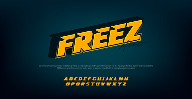 Fonte di alfabeto moderno con colore giallo Vettore Premium