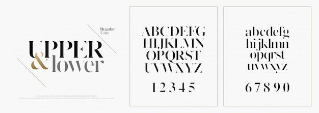Fonte di lettere di alfabeto di moda elegante Vettore Premium