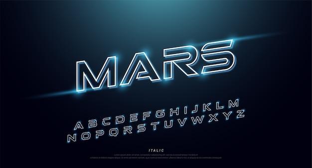 Fonte e alfabeto al neon di tecnologia astratta. effetto techno Vettore Premium