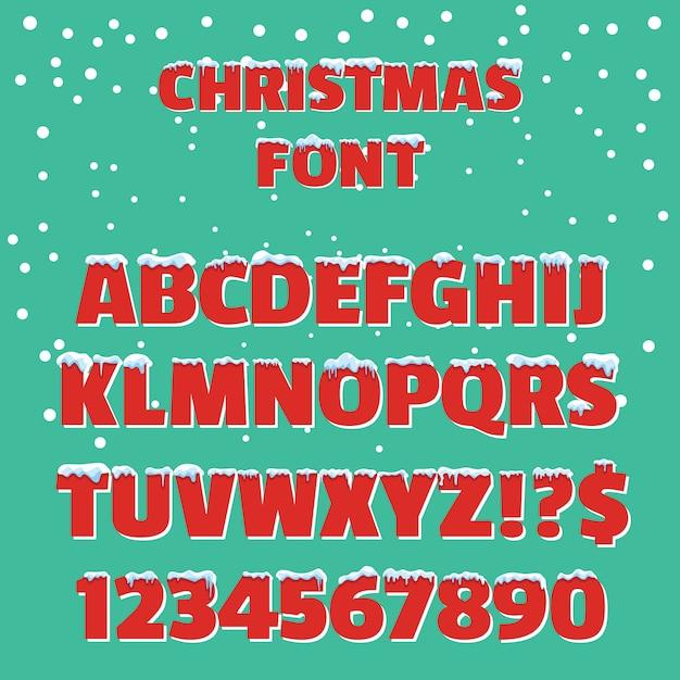 Fonte tipografica di vettore di vacanze di natale rosso Vettore Premium