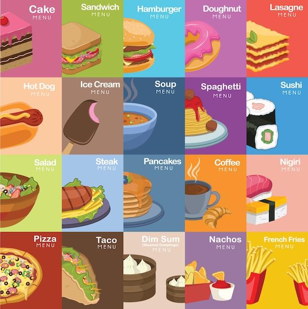 Food design colorato Vettore gratuito