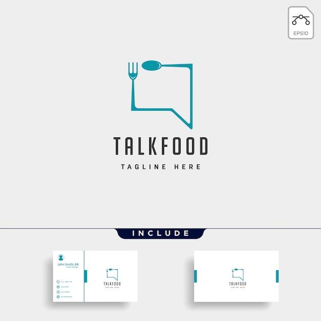 Food message talk chat linea contorno semplice logo piatto Vettore Premium