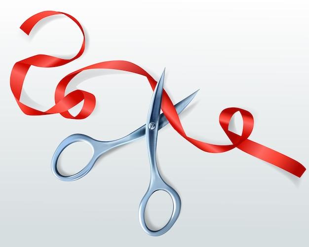 Forbici che tagliano l'illustrazione rossa del nastro per la cerimonia di premiazione o la celebrazione di inaugurazione Vettore gratuito
