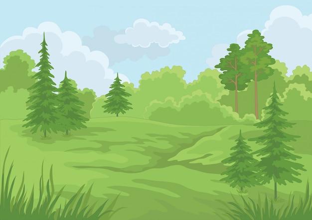 Foresta e cielo blu verdi di estate Vettore Premium