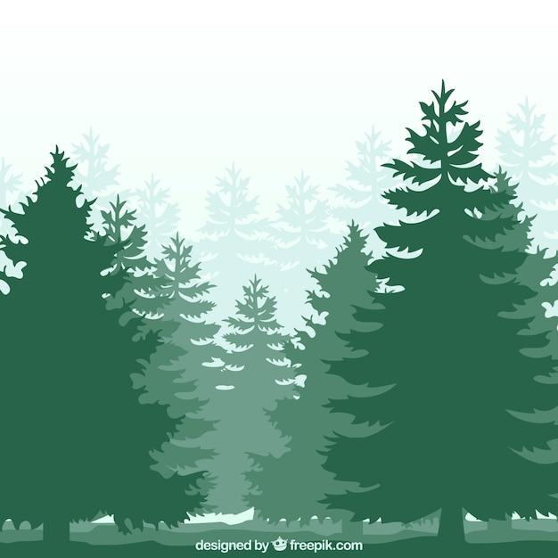 Foresta silhouette Vettore gratuito