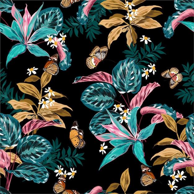 Foresta tropicale con piante e fiori Vettore Premium