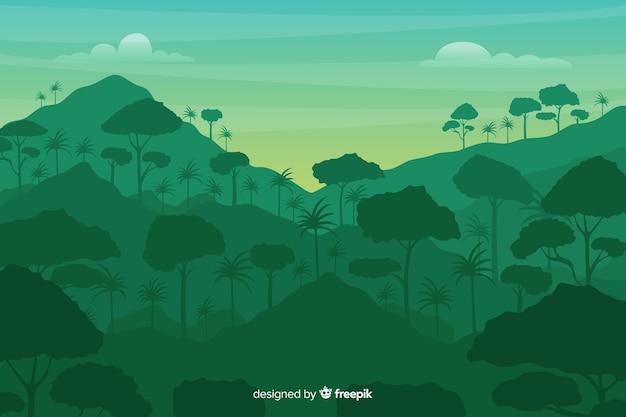 Foresta tropicale e paesaggio delle montagne Vettore gratuito