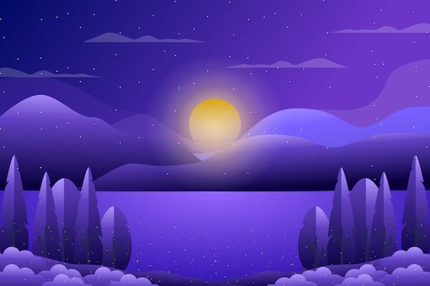 Foresta viola di paesaggio con l'illustrazione del mare e del cielo Vettore Premium