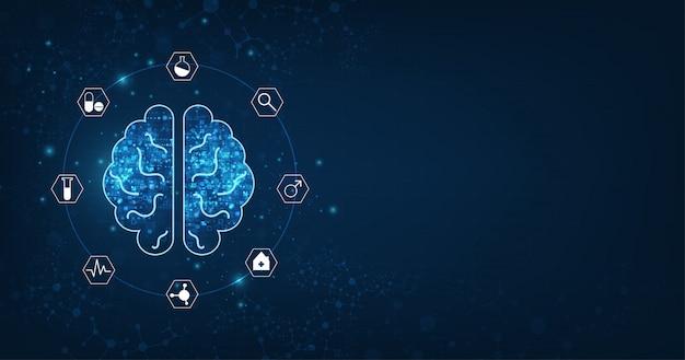 Forma astratta del cervello umano di un'intelligenza artificiale su blu scuro Vettore Premium