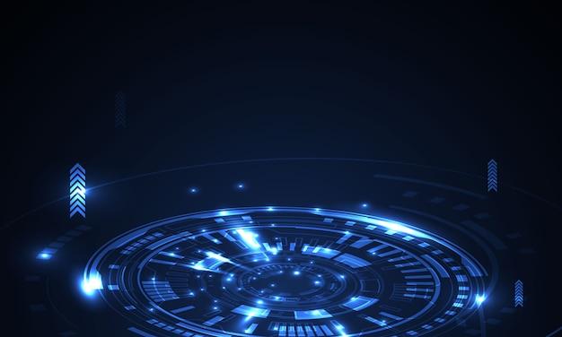 Forma astratta geometrica tecnologia del concetto di luce incandescente Vettore Premium