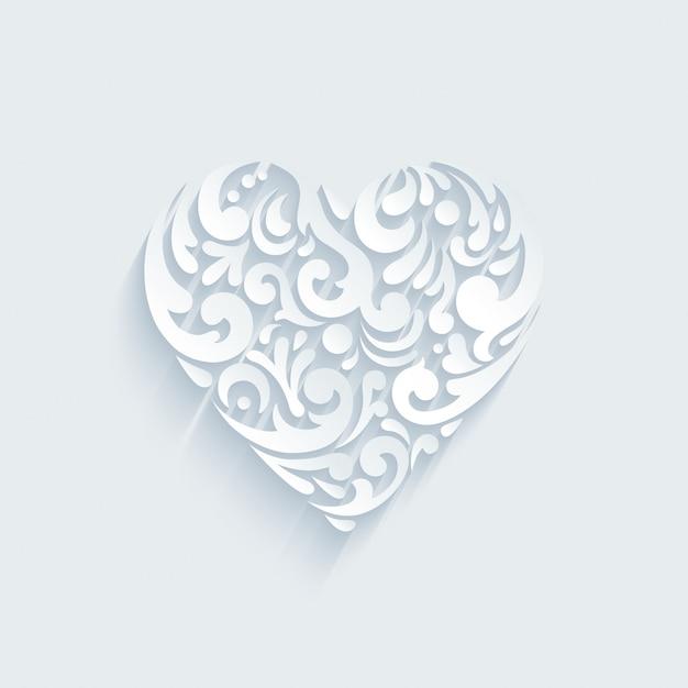 Forma decorativa del cuore formata da elementi creativi astratti. modello per san valentino, cartolina celebrazioni di nozze. Vettore gratuito